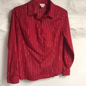 Jaclyn Smith red and silver blouse